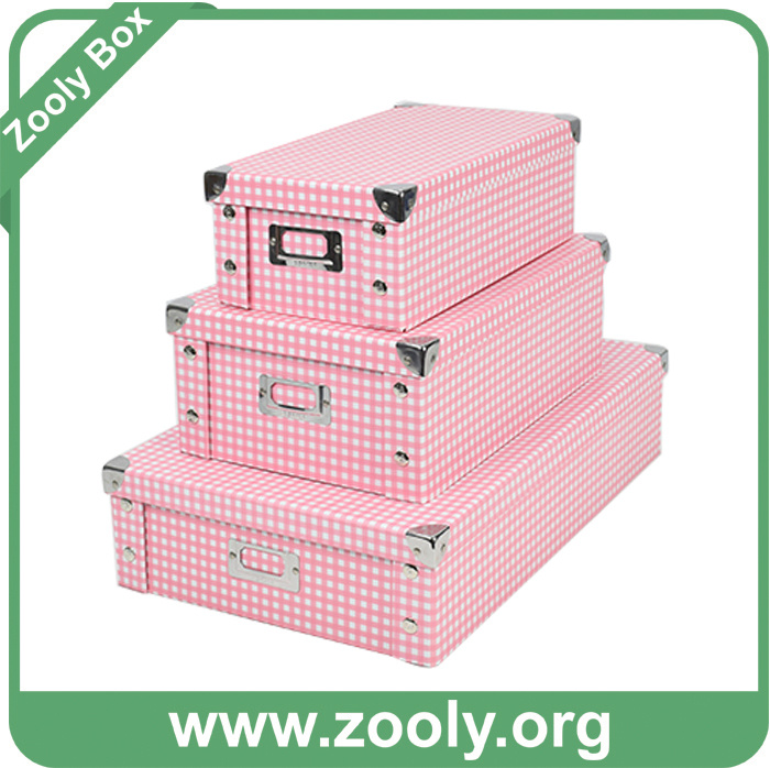 Printed Paper Foldable Storage Box with Metal Corner