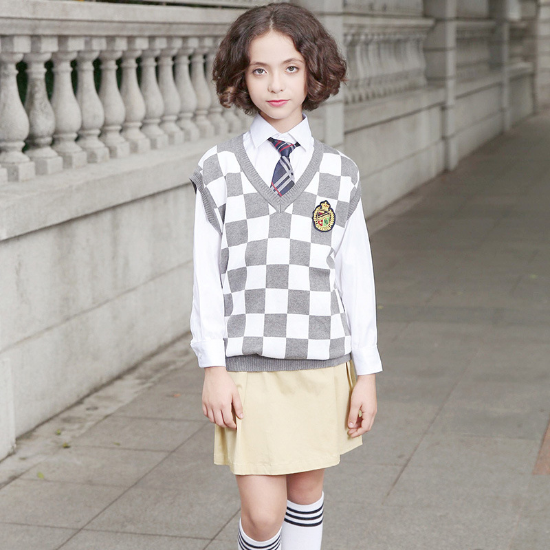 Knitted Vest with Skits and Pants School Uniform Plaid Vest