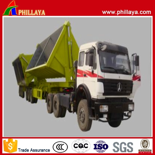 Diesel Fuel Type Dump Truck Hydrualic Cylinder Semi Trailer Double-B Side and Rear Tipper