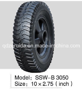 10X2.75 Inch Semi Pneumatic Rubber Wheel with Turf 100# Tread