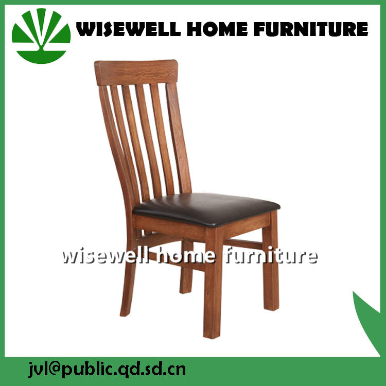Dark Brown PU Seat Light Oak Wood Dining Chair with Ladder Back
