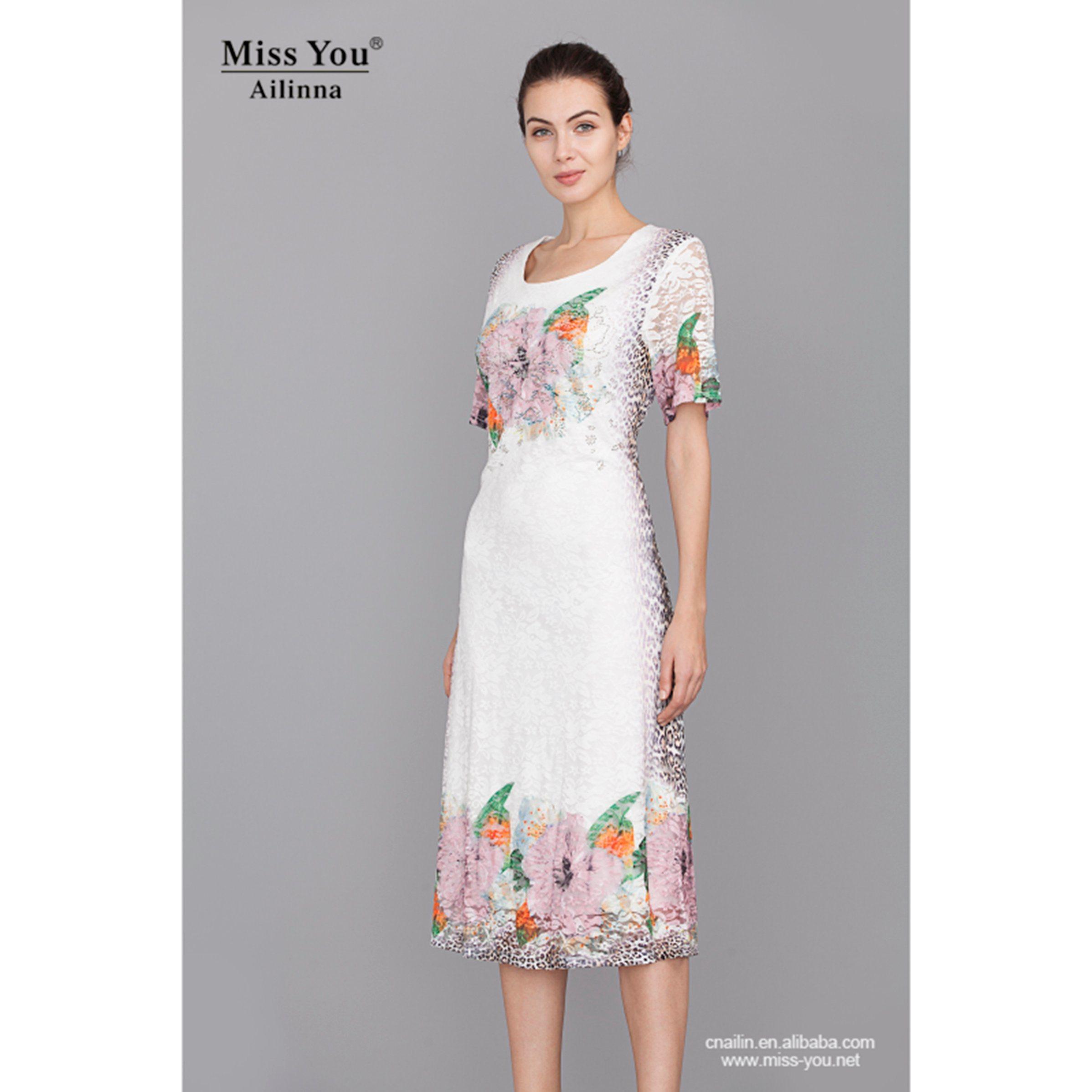 Miss You Ailinna 801856 Women Elegant White Lace Print Dress
