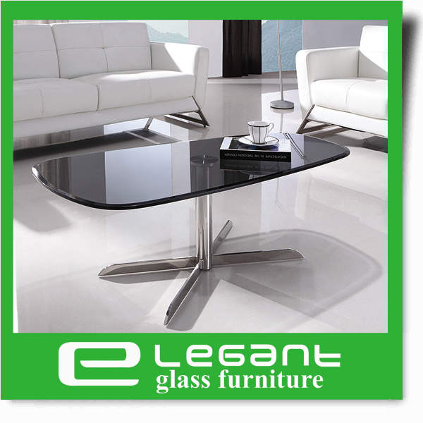 Crystal White Painting Tempered Glass Table with Black Mat Frame