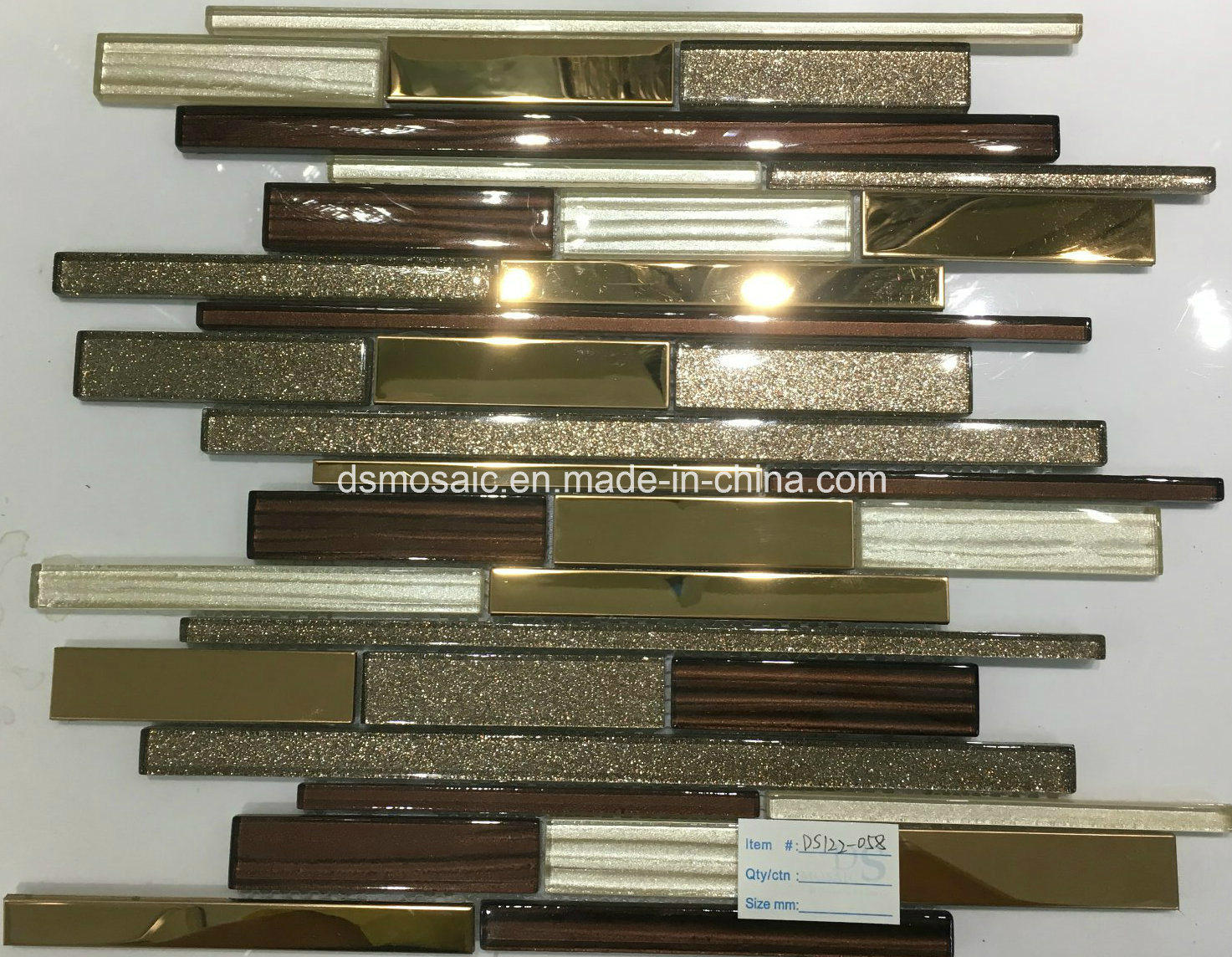 Modern Style Stripe Glass, Marble and Stainless Mixed Mosaic Tile