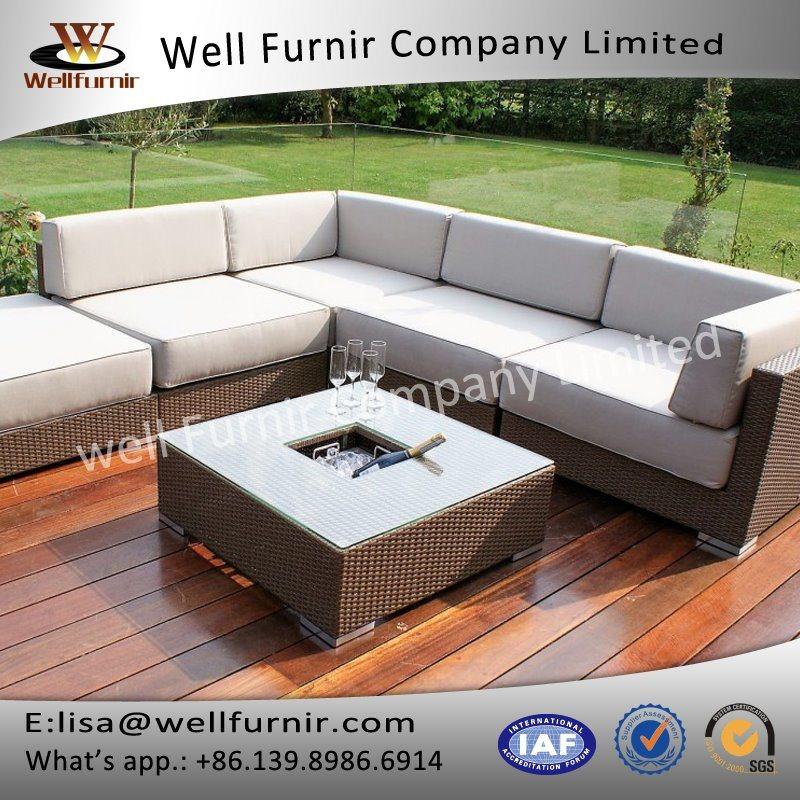 Well Furnir T-006 100% Aluminium Frame Ice Bucket Coner Rattan Sofa Sets