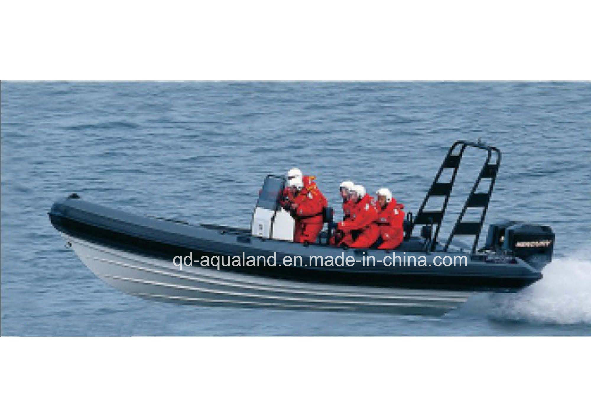Aqualand 25feet 7.5m Fiberglass Rib Fishing Boat /Military Rigid Inflatable Boat/Rescue Motor Boat (RIB750B)