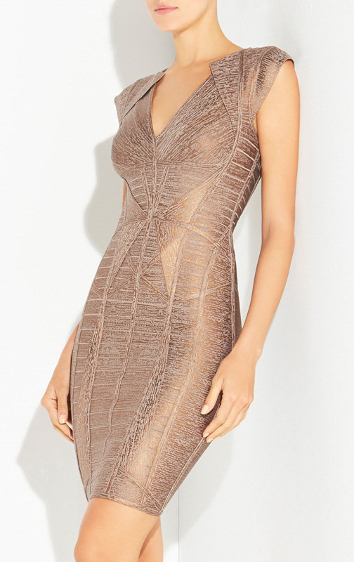 Luxury Golden Foil Slim Bandage Evening Dress