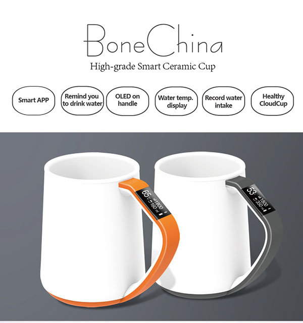 New Gift Healthy Bone China Bluetooth Smart Mug with Lid