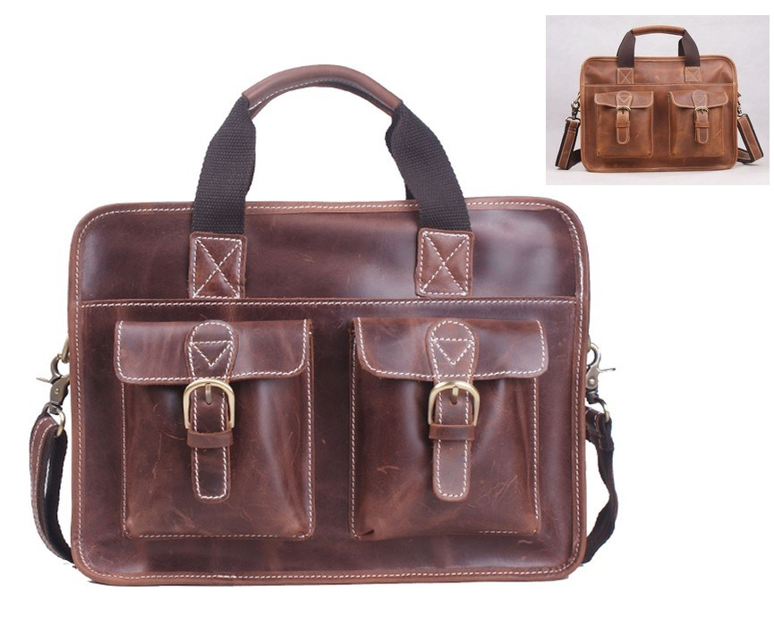Genuine Leather Handbag Crazy Horse Leather Tote Bag for Men