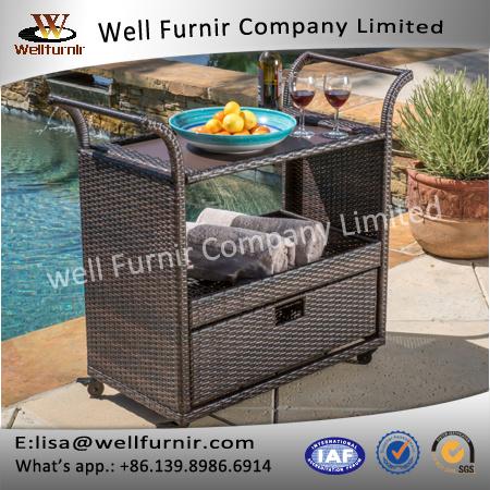 Well Furnir PE All-Weather Best Selling Home Wicker Bar Cart