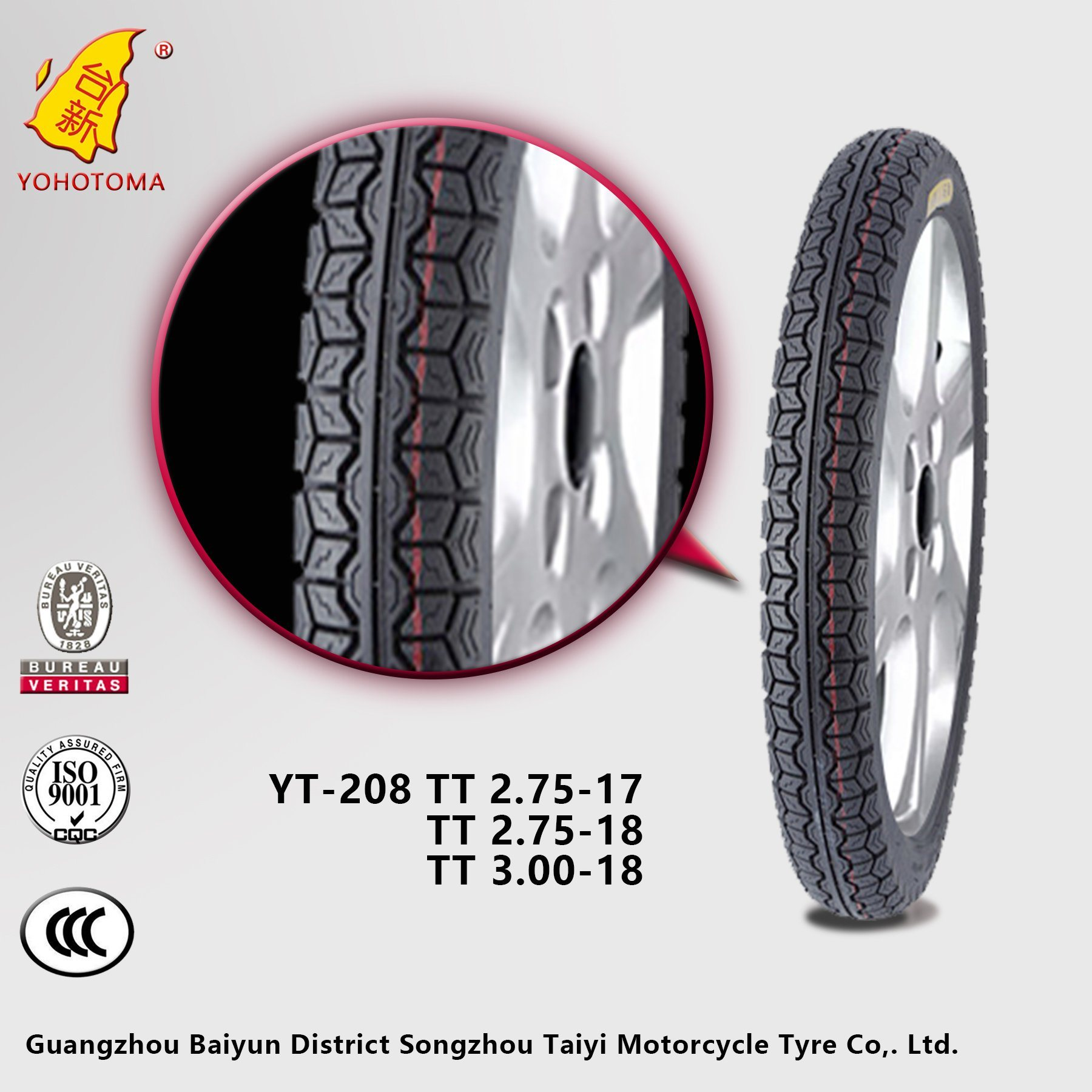 Cheap Price China Motorcycle Tyre YT-208 TT 3.00-18