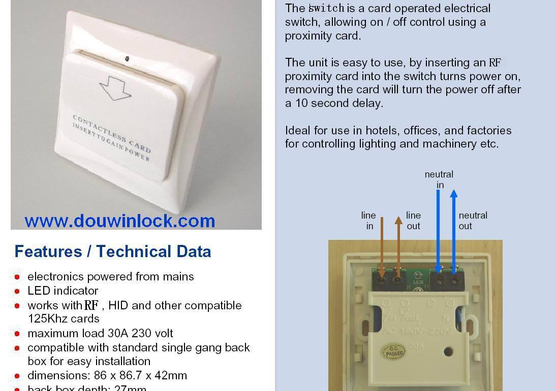 Hotel Energy Saving Switch to Gain Power