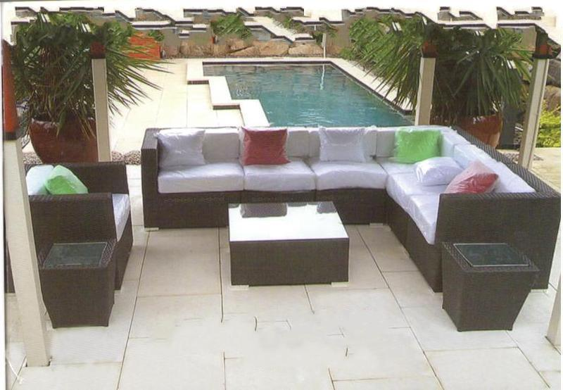 Qzs 001 Outdoor Rattan Living Room Big Sofa Set   China Rattan