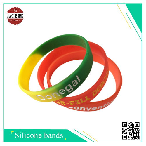Debossed and Color Filed Silicone Wristband