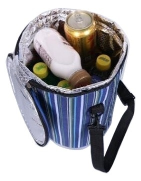 Bucket Cooler Bag Stripes Print Handbag Foil Food Bag