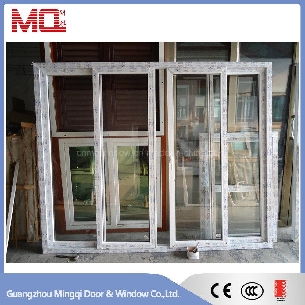 Balcony PVC Tempered Glass Sliding Door with Mosquito Net