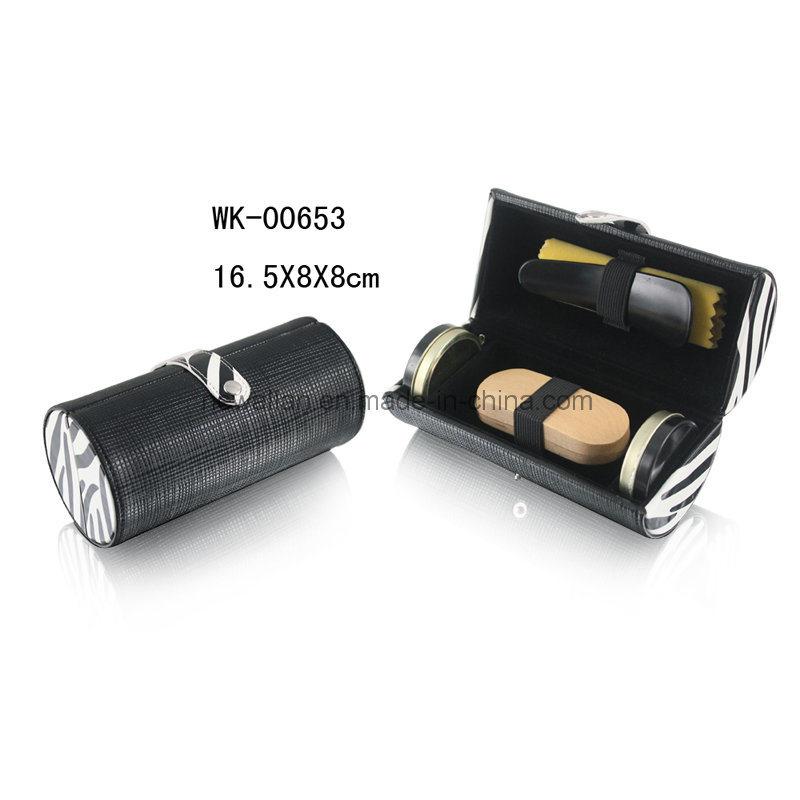 Classic Black Leather 5PCS Nail Care Tools Travel Shoe Shine Kit