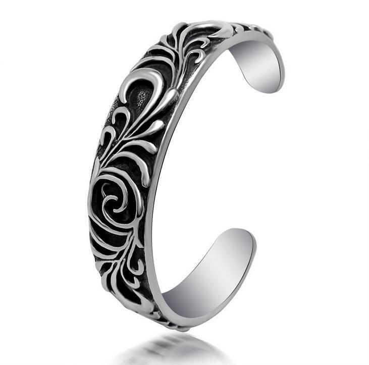 Men Bracelets Titanium Steel Fashion Jewelry Cuff Bangles