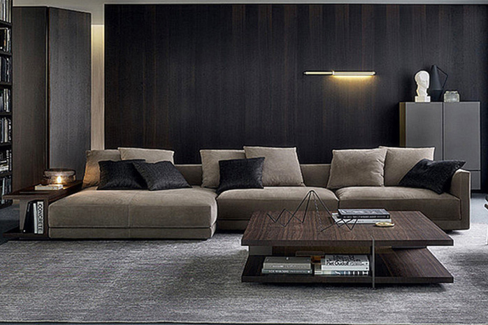 Living Room Furniture Italy Modern L Shape Sectional Fabric Sofa (corner sofa)
