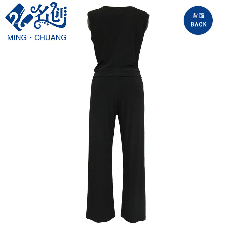 Black V-Neck Sleeveless Sexy Low-Cut Soft Slim Fashion Ladies Jumpsuits