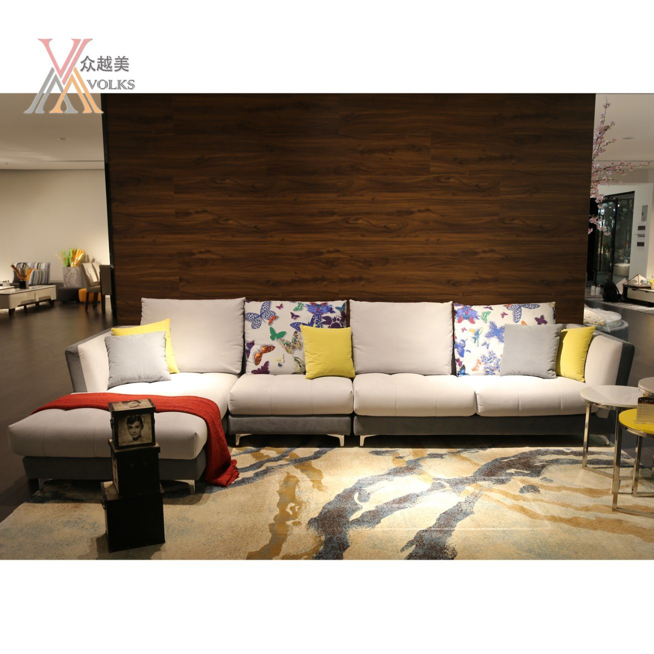 Modern Colorful Fabric Sofa with Corner (992A)