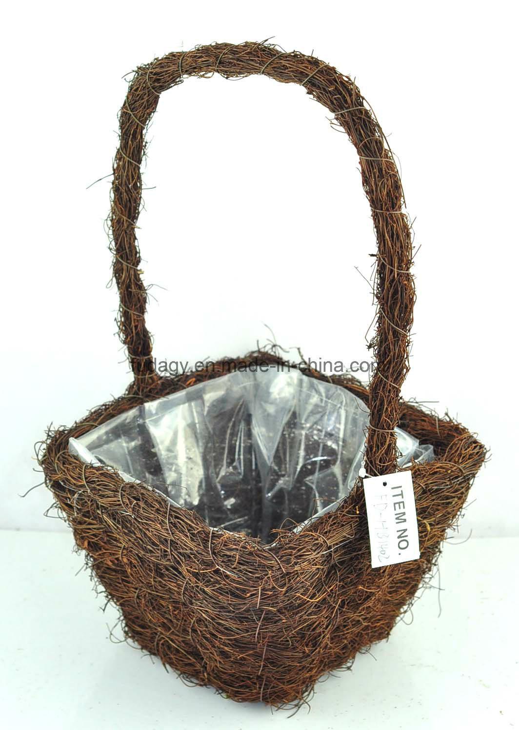 Salim Rattan Square Flower Basket with Handle