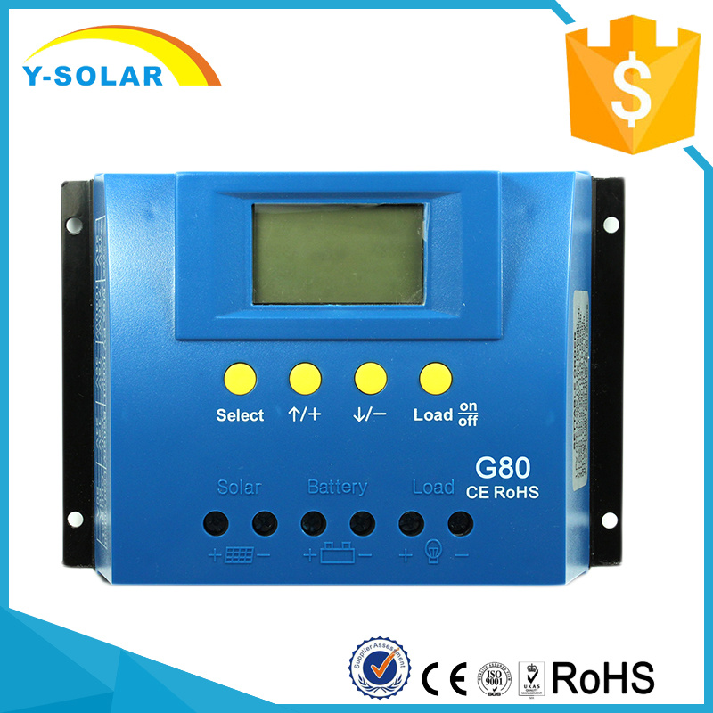 80A 12V/24V Solar Panel Cell PV of Charge Controller with Backlight and Full Display G80