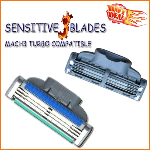 Compatible with Gillette Mach3 Turbo Shaving Razor Blade (4PCS/lot)