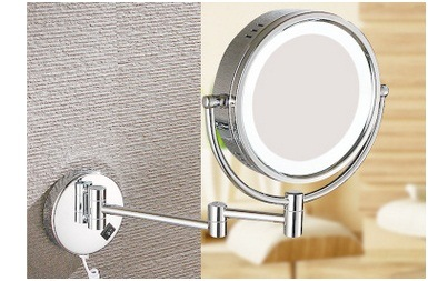LED Cosmetic European Mirror, Folding Double-Side Wall Mounted Bathroom Mirror