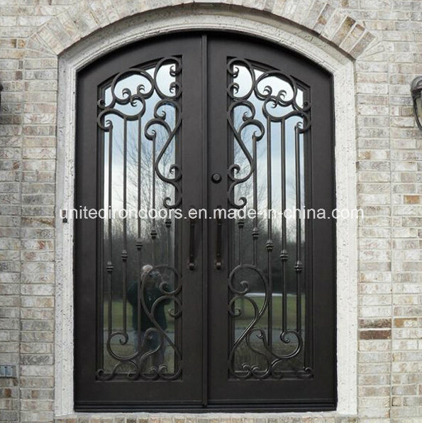 China Factory Direct Wrought Iron Double Entry Door (UID-D012)