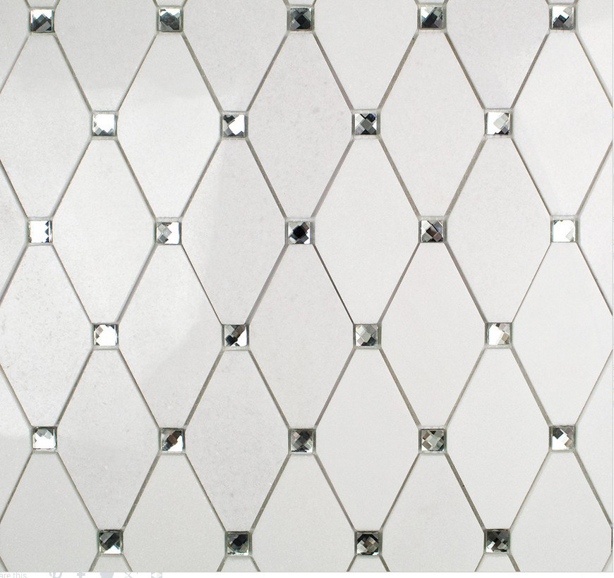 China Thassos White Marble Octave With Diamond Dots Mosaic