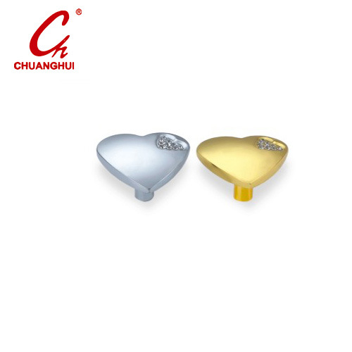 Furniture Hardware Heart Shape with Crystal Door Knob Handle