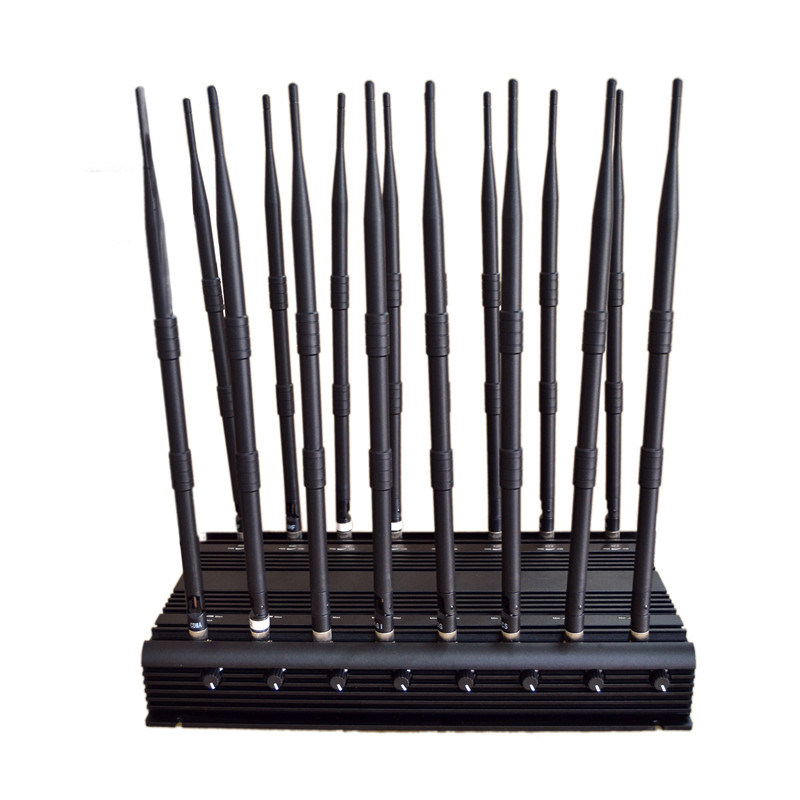 2016 Latest 16 Antennas All Bands RF Radio Jammer Whole Frequency Desktop Jammer 130MHz-2700MHz