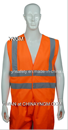 Overall Workwear/ Safety Vest with High Visibility Reflective Tape