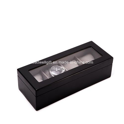 Wood 4-Slot Watch Box Glass Top Window Gift Box