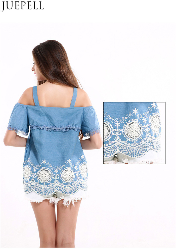 Women Stitching Lace Flounced Hem Embroidered Strapless Tops Wavy Harness Loose Fashion Shirt Blouse