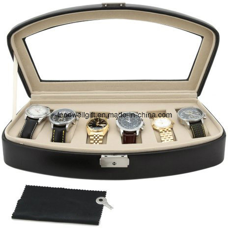 Watch Box Storage Case for 6 Watches Black Leather Lock