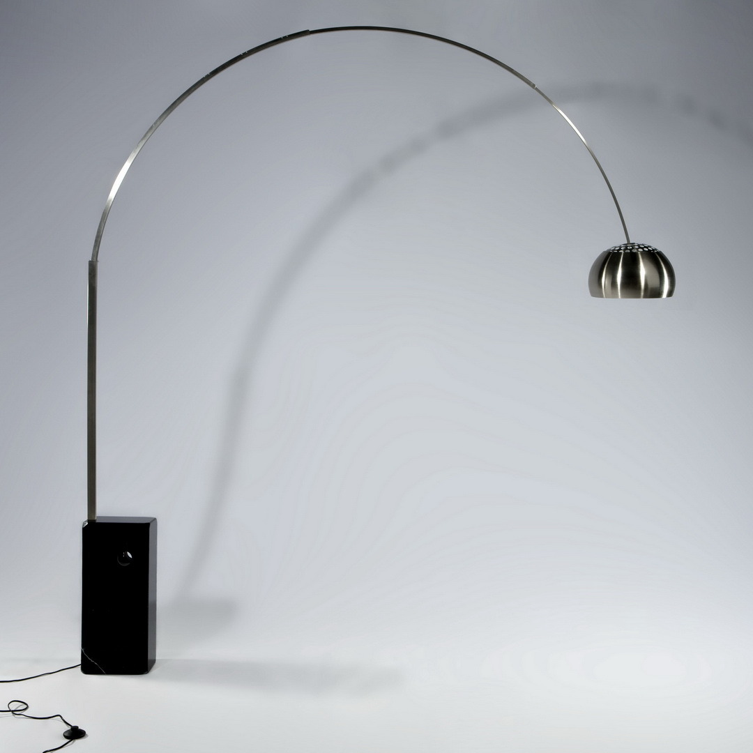 Black Stainless Steel Arc Arm Marble Indoor Floor Lamp