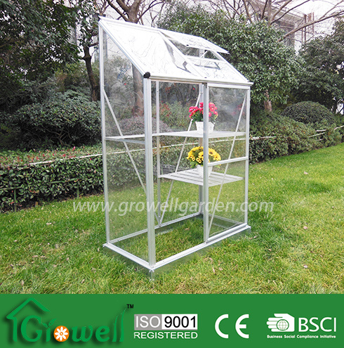 Clear Panel Lean-to Greenhouse for Limited Space with Back and Staging