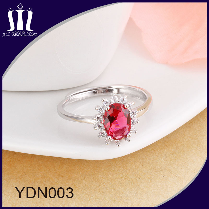 Red Corundum Gemstone Bridal Wedding Ring
