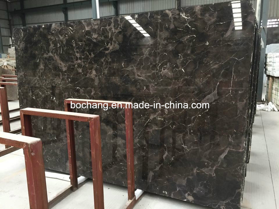 Polished Newly Domestic Dark Emperador Marble Slab