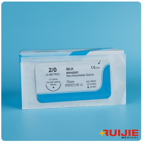 Non-Absorbable Silk Braided Surgical Suture with Needle