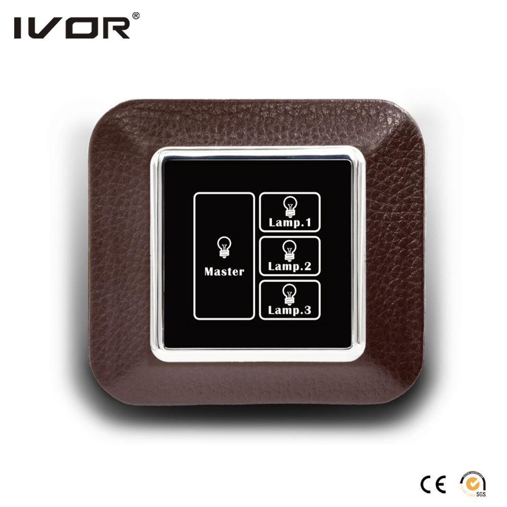 3 Gangs Lighting Switch Touch Panel with Master Control Aluminum Alloy Frame (HR1000-AL-L3M-B)
