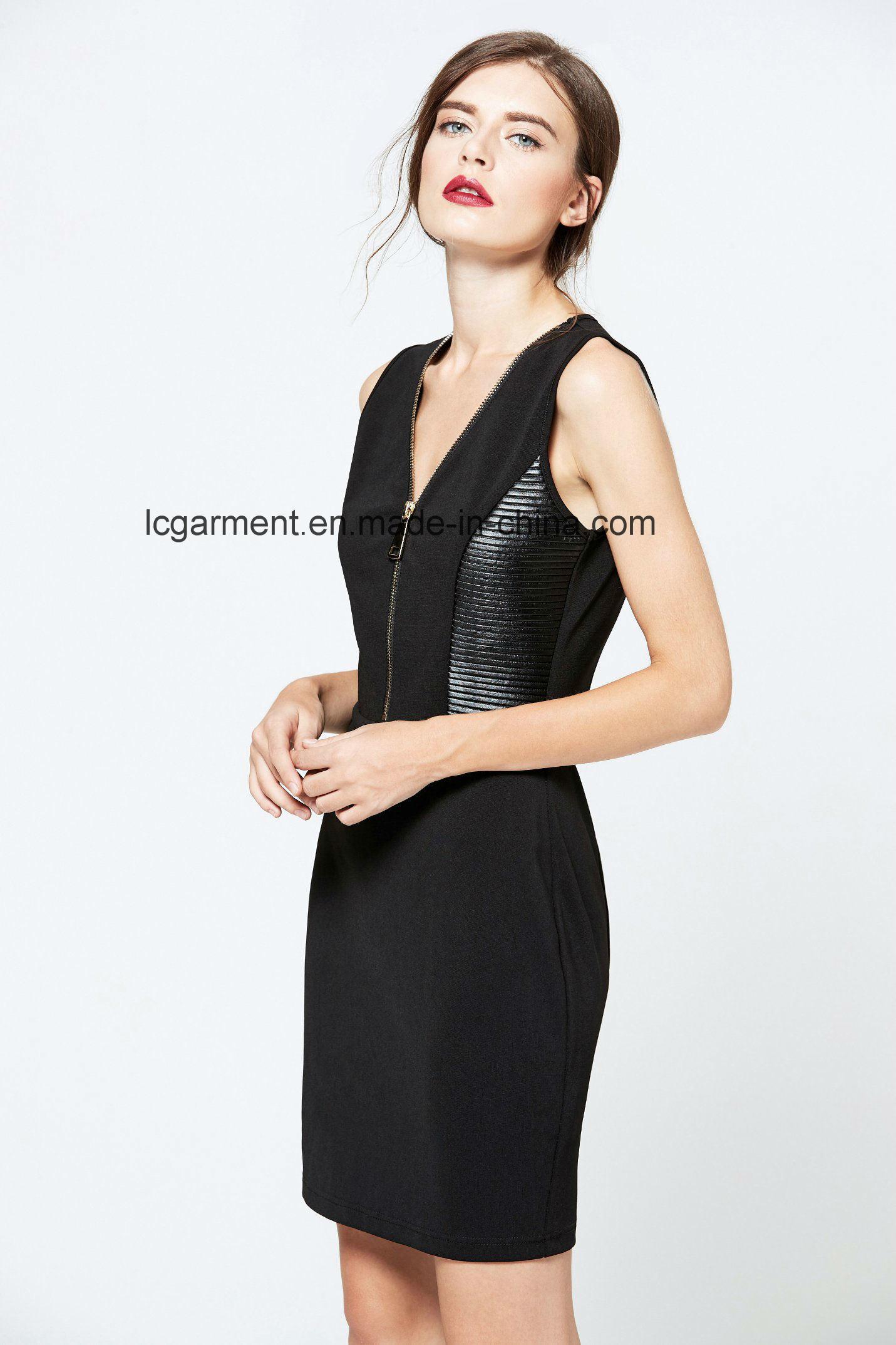 Hot Sale Slim Fit Zipper Black Sleeveless V-Necked New Fashion Ladies Dress