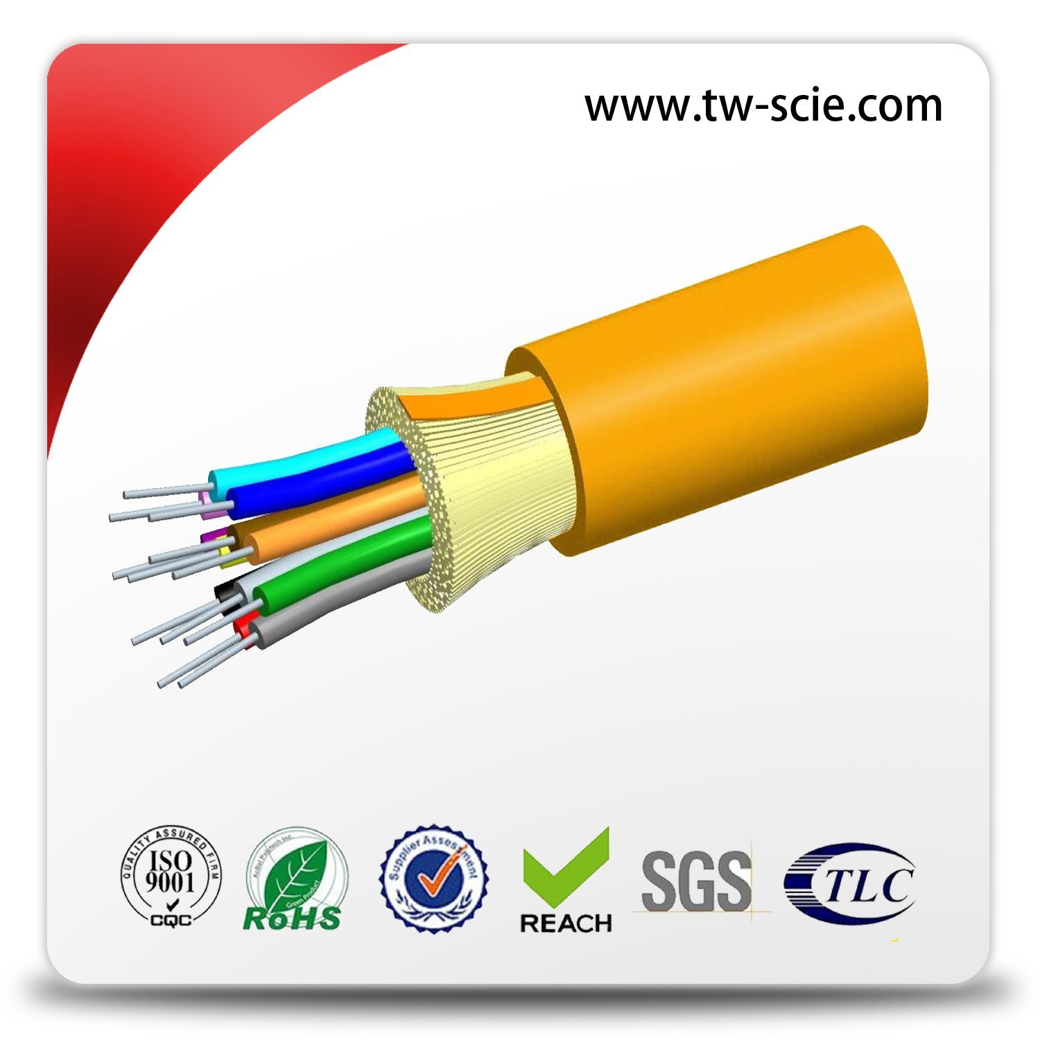 Indoor 12 Core Breakout Fiber Cable of Tight Buffered and with Non - Metal Member