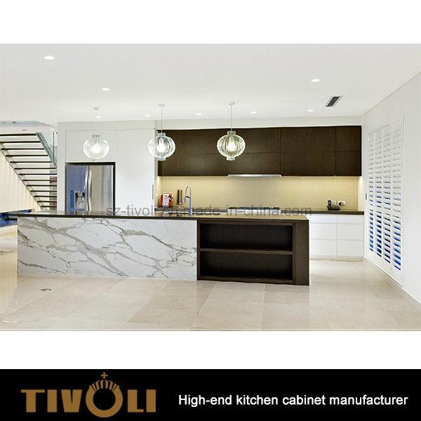 Veneered Laminate Black Kitchen Cabinet Modern design Tivo-0223h