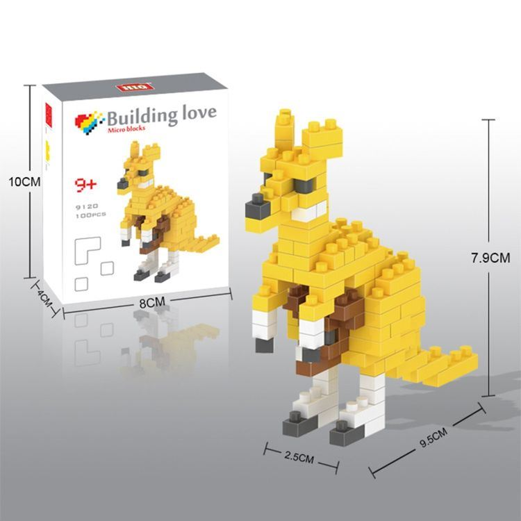 14889120-Micro Block Kit Animal Series Blocks Set Creative Educational DIY Toy 100PCS - Kangaroo