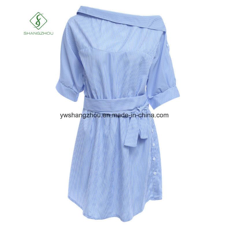 Hot Sell Fashion One-Shoulder Elegant Blue Striped Women Shirt Dress