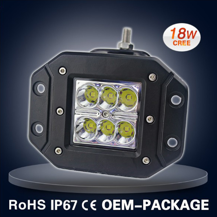 Auto off Road 18W Flush Mount LED 12V 24V DC Mini 24W LED Work Light for Truck Car Boat Bar 4X4