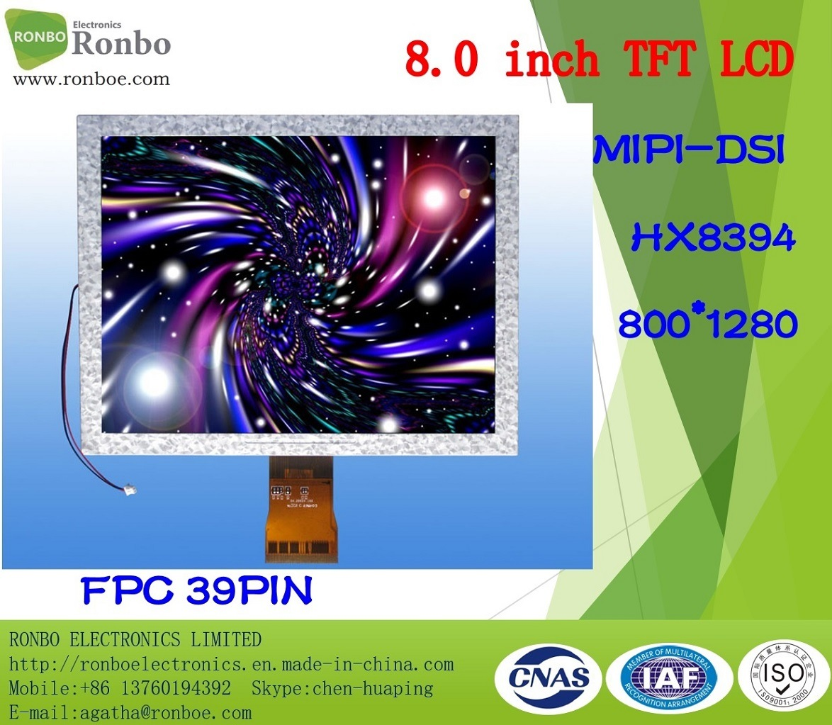 "8.0"" 800X1280 Mipi TFT LCD Module, Hx8394, 39pin, for POS, Doorbell, Medical"